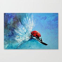 Flirt - Ladybug On Dandelion Canvas Print