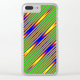 Diagonal Green Gold Op-Art Stripes Clear iPhone Case