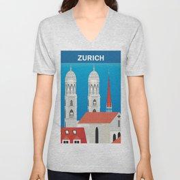 Zurich, Switzerland - Skyline Illustration by Loose Petals Unisex V-Neck