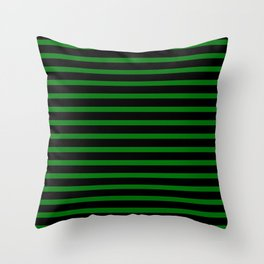 Green and Black Stripes Throw Pillow