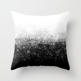 fading paint drops - black and white - spray painted color splash Throw Pillow
