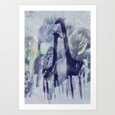 giraffes with trees Art Print