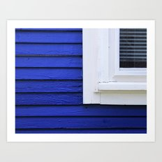 White window frame, blue clapboards Art Print