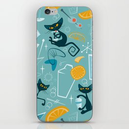 Mid century modern atomic style cats and cocktails iPhone Skin