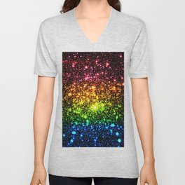 Rainbow Sparkle Galaxy Stars Unisex V-Neck