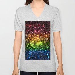 Rainbow Sparkle Galaxy Stars Unisex V-Neck