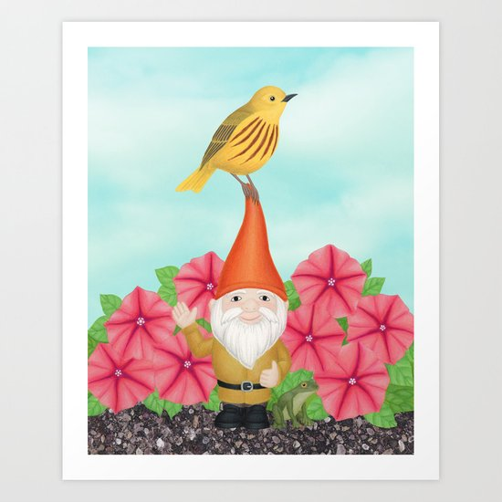 gnome with yellow warbler and petunias Art Print