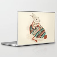 winter Laptop & iPad Skins featuring cozy chipmunk by Laura Graves