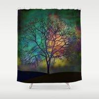 celestial Shower Curtains featuring Celestial Phenomenon by Klara Acel