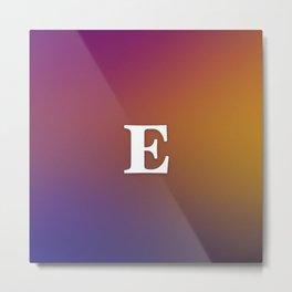 Monogram Letter E Initial Orange & Yellow Vaporwave Metal Print