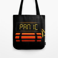 panic at the disco Tote Bags featuring PANIC by Terry Mack