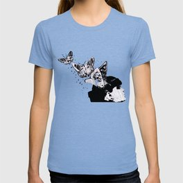 Long Gone Whisper II (street art graffiti painting, girl with butterflies) T-shirt