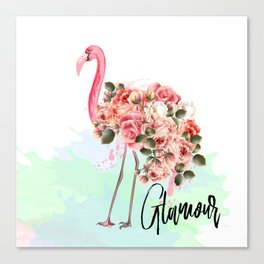 Pink flamingo with roses. Tropical design Canvas Print