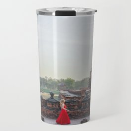 Woman in a Temple in Ayutthaya, Thailand Travel Mug