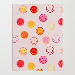 Smiling Faces Pattern Poster