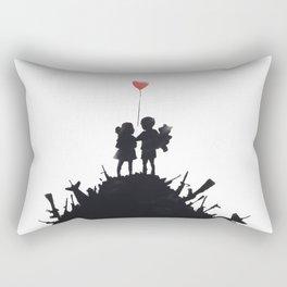 Banksy Two Children With Love Balloon At War Destruction Garbage, Streetart Street Art, Grafitti, Ar Rectangular Pillow