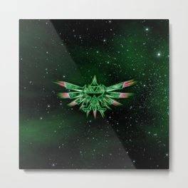 ZELDA TRIFORCE - GREEN Metal Print