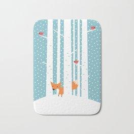 Fox in snow Bath Mat