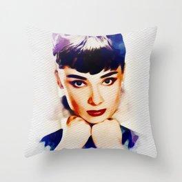 Audrey Hepburn, Hollywood Legend Throw Pillow