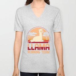 Llama running team - Llama, alpaca Unisex V-Neck