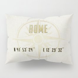 Rome - Vintage Map and Location Pillow Sham