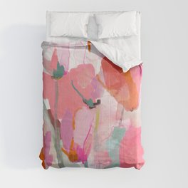Floral abstract pink art Comforters