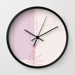 Lilac Gold Abstract Wild Liatris Flower Wall Clock