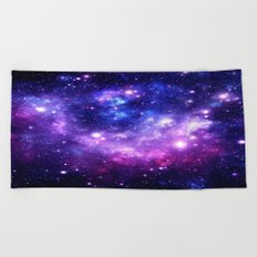 Purple Blue Galaxy Nebula Beach Towel