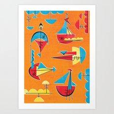 Atomic Sail Boats Art Print