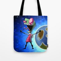 invader zim Tote Bags featuring Invader Zim by DROIDMONKEY