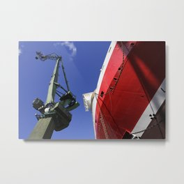 Shipyard crane and red ship Metal Print