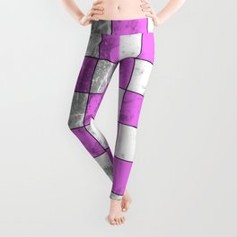 Textured Pink And White Squares Leggings