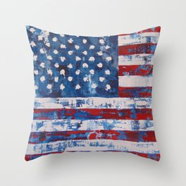 Distressed American Flag vertical hang Throw Pillow
