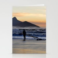 south africa Stationery Cards featuring Sunset Beach - South Africa by The 3rd Eye