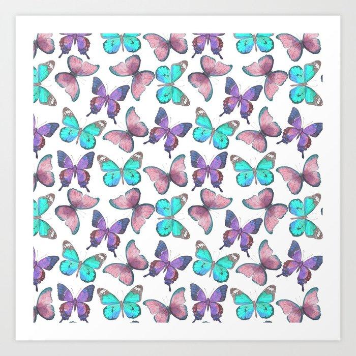 Flutter Butterfly Pattern Art Print