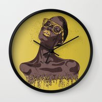 gold glitter Wall Clocks featuring Glitter by MessyDesk