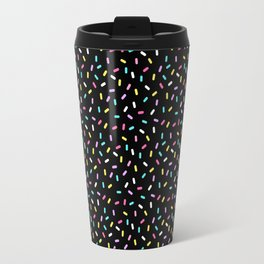 Do-Nut Confetti Sprinkles Black Travel Mug