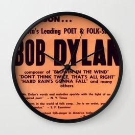 Vintage 1965 Waikiki Shell Hawaii Bob Dylan Concert Poster Wall Clock
