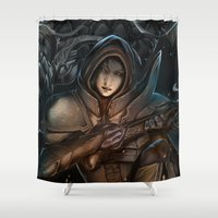 diablo Shower Curtains featuring Diablo III -reaper of souls by Bakushade
