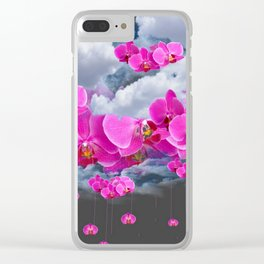 PINK ORCHID FLOWERS CLOUDS & RAIN Clear iPhone Case