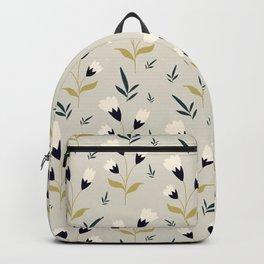 Little white flower pattern on cream background Backpack