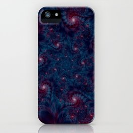 Burgundy and Blue Fractal Abstract iPhone Case