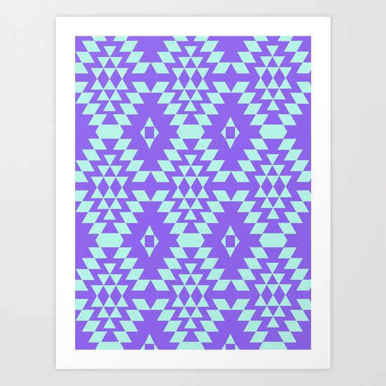 Aztec Inspired Pattern Teal & Purple Art Print