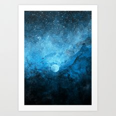 Blue Space Abstract Art Print