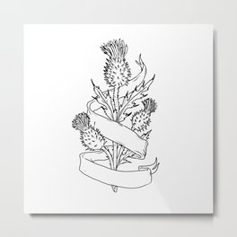 Scottish Thistle With Ribbon Drawing Black and White Metal Print