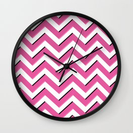 Pink Chevron Pattern Wall Clock