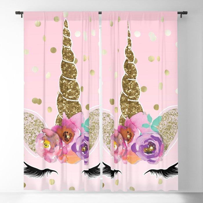 Floral Trendy Modern Unicorn Horn Gold Confetti Blackout Curtain