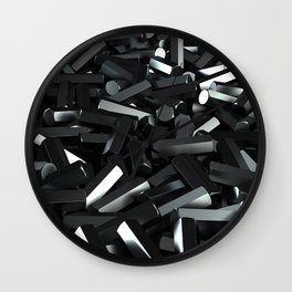 Pile of black hexagon details Wall Clock