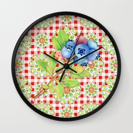 Wild Blueberry Red Gingham Wall Clock