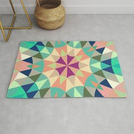 Retro Geometry Mandala Deep Pastels Rug